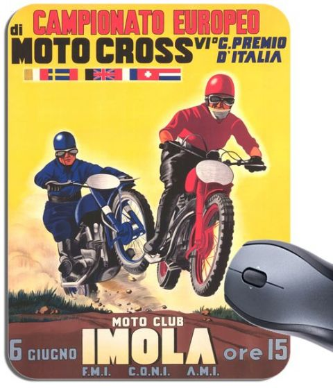 Imola Motocross Vintage 1955 Poster Mouse Mat. Motorcycle Motorbike Mouse pad